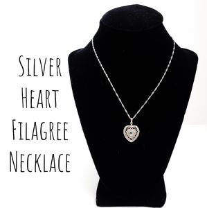 Jewelry - Silver Heart Filigree Necklace w/ Blue Stone